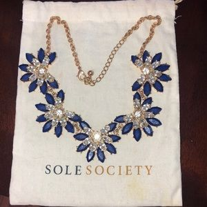 Sole Society blue and white statement necklace.